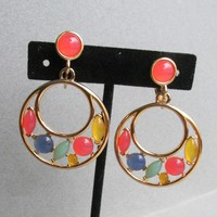 Vintage TRIFARI Ice Cream Colors Moonglow Glass Cabochon Dangle Hoop Earrings