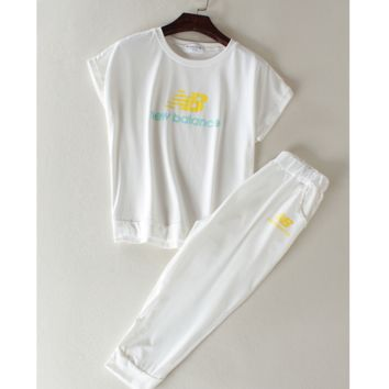 """New balance"" Fashion running sports shorts sleeve show thin T shirt suit White"