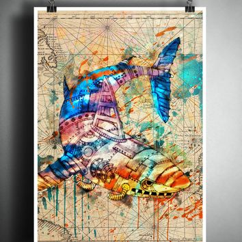 Shark splatter art, Mechanical animal colorful beach decor, old map artwork