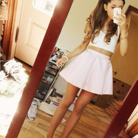 Skirt: celebrity ariana grande bandeau bralette tank top shoes kenley collins pink white bustier