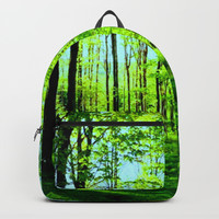Sky Blue Morning Forest Backpack by Zurine