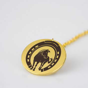 Horse inside horseshoe stainless steel pendant necklace