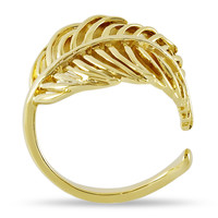 Adjustable Feather Ring, Feather Wrap Ring, Gold Plated Wrapped Leaf Ring