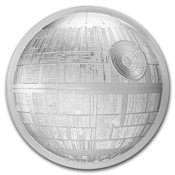2018 Niue 2 oz Silver $5 Star Wars Death Star Ultra High Relief