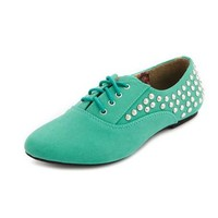 Studded Lace-Up Oxford Flat: Charlotte Russe