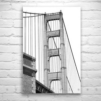 San Francisco Wall Art, California Wall Art, Black and White Photography, Golden Gate Bridge Image, Bridges Art, Fine Art Photography