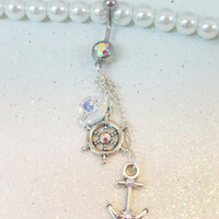 Anchor bellybutton jewelry, cute belly / naval ring with wheel, anchor and heart in AB crystals