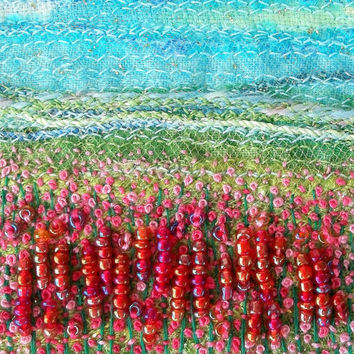 Embroidered fabric landscape card - flower meadow - beaded fabric art greeting card - french knots textile art - needlework art for framing