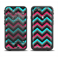 The Sharp Pink & Teal Chevron Pattern Apple iPhone 6 LifeProof Fre Case Skin Set