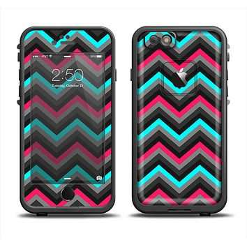 The Sharp Pink & Teal Chevron Pattern Apple iPhone 6/6s LifeProof Fre Case Skin Set