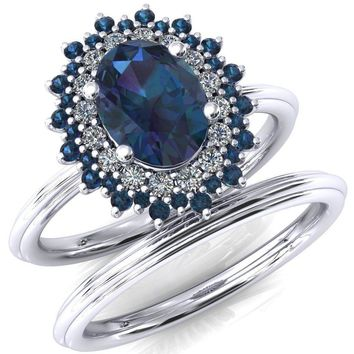 Eridanus Oval Alexandrite Cluster Diamond and Alexandrite Halo Wedding Ring ver.2