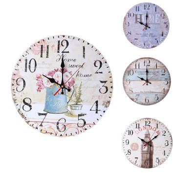 High quallity Vintage Style Non-Ticking Silent Antique Wood Wall Clock
