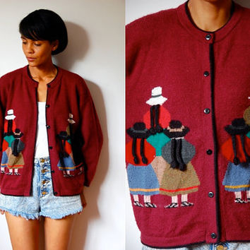 Vtg Peruvian People Printed Burgundy Button Down Knitted Sweater