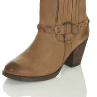 Bree Leather Tan Plaited Boot - View All  - Shoes