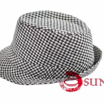 New Women Fashion Gangster Grids Fedora Bucket Hat Cap Trilby Crusher Panama
