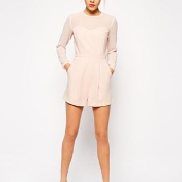 ASOS Playsuit With Sheer Sleeves