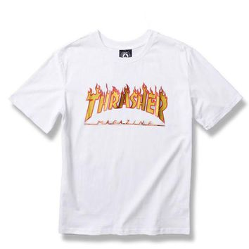 Thrasher Trending Casual  Women Men Fashion Casual Shirt Top Tee White G