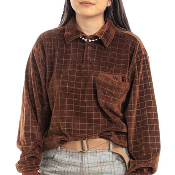 Vintage 90's Does 70's Brownie Square Velour Pullover - One Size Fits Many