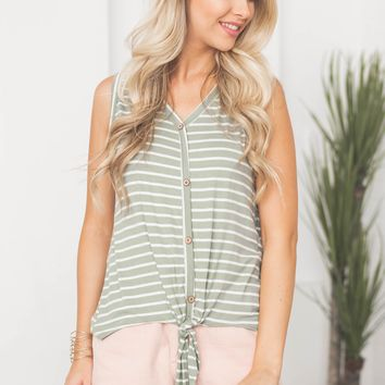 Eva Button Knot Tank Top | Olive