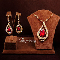 Women New 18k Yellow Gold Plated Ruby/white/Blue Sapphire Austrian Crystal Chain Jewelry Sets Necklace + Earrings Free shipping