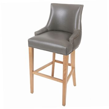Celinda Bonded Leather Tufted Back Bar Stool Natural Wood Legs, Vintage Gray