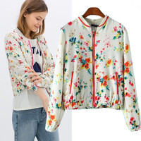 Fruit Print Long Sleeve Zipper Jacket