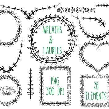 79960a9a6e7 Digital Laurel Wreaths Clip Art. Black Wreaths Set. Vine Frames and Borders.  Digital
