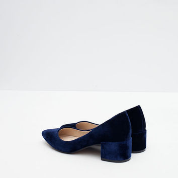 BLOCK HEEL VELVET SHOES