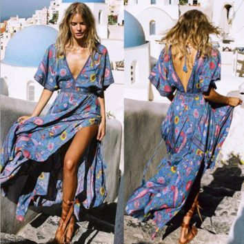 Boho Retro Peacock Print Backless Deep V-Neck Short Sleeve Beach Maxi Dress