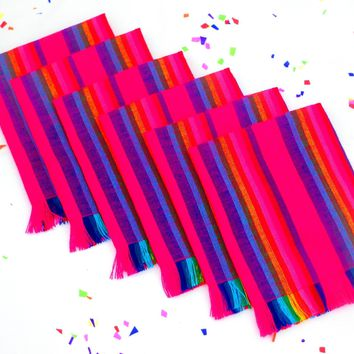 Mexican Woven Napkins Set of 6, Fiesta party decorations - Pink/Stripe NAP004