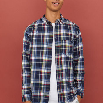 Plaid Cotton Flannel Shirt - Dark blue/checked - Men | H&M US