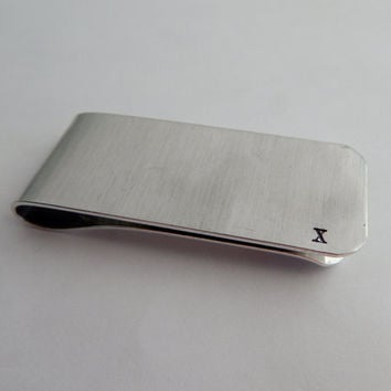 Roman Numeral Ten Year Anniversary Hand Stamped Money Clip / Anniversary Gift / Wedding Anniversary / Gift for Him / 10 Year Service Gift
