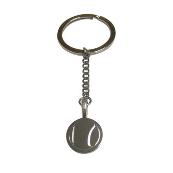 Silver Toned Etched Round Tennis Ball Pendant Keychain