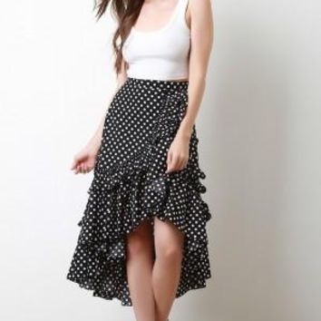 Polka Dot Tiered Waterfall Ruffle High Low Midi Skirt