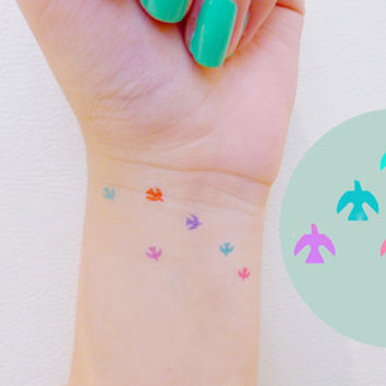 6pcs Pastel Tiny Bird colored tattoo - InknArt Temporary Tattoo - wrist quote tattoo body sticker fake tattoo wedding tattoo small tattoo