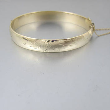 Gold Etched Bangle Bracelet, Solid 9K Yellow Gold Engraved Hinged Bracelet, 1940s 9ct Gold Jewelry