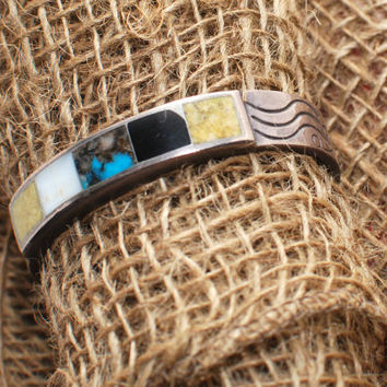 Vintage 1930-1940s Authentic Zuni Tribe Multi Stone Sterling Silver Cuff Bracelet