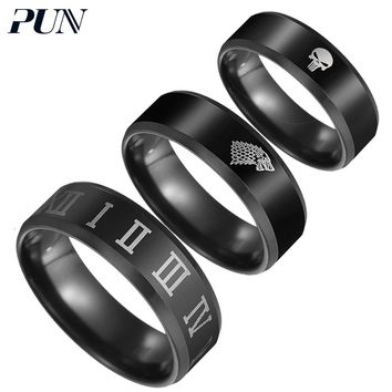 PUN stainless steel finger rings male punk jewelry accessories black gifts rins for men jewellery kpop moon biker bts jeweler