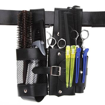 Hairdressing kit lumbar tools pockets Bag PU leather Hairdressing Scissor Holster Bag For Comb Scissors Razor Other Barber Tools