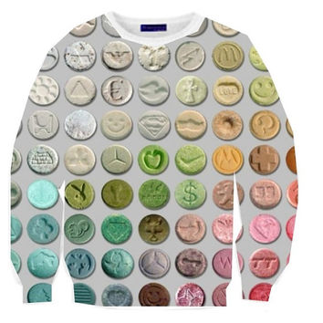 Molly Rainbow Ecstasy Pill Crewneck 3D Digital Print