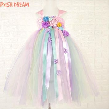 POSH DREAM Unicorn Tutu Dress Sweet Candy Color  Flower Girl Wedding Birthday Party Dresses Children Photo Outfit Set