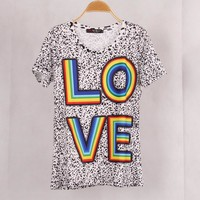 Newest Fashion Women Colorful Rainbow LOVE Printed t shirt Tops Blusas t-shirt Woman Women Clothing Clothes shirt female