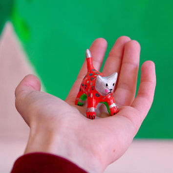 "Disco cat collection ""Mini Red cat"" , painted clay sculpture"