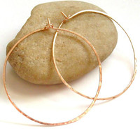 14K Rose Gold Filled Large Hammered Hoop Earrings, 18 Gauge, 2 Inches