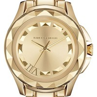 KARL LAGERFELD '7' Faceted Bezel Bracelet Watch, 44mm - Gold (Nordstrom Online Exclusive)