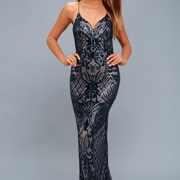 Ruby Navy Blue Sequin Lace-Up Maxi Dress