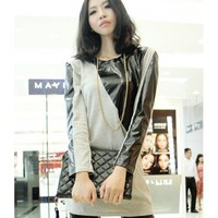 Grey Women Autumn New Style Splicing Long Sleeve Cotton Long T-shirt One Size @WH0369g $9.99 only in eFexcity.com.