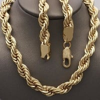 Gold Tone Men Rope Basic Necklace, by Folks Jewelry