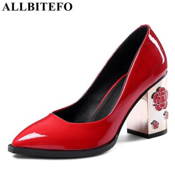 ALLBITEFO 2017 spring pumps genuine leather pointed toe thick heel women pumps cut-outs heel high heels office ladies shoes