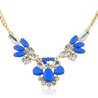 "Blue Cabochon and Crystal Faceted Teardrop Gold-Tone Statement Necklace, 16"" + 3"" Extender"